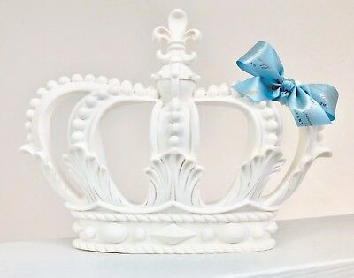 White Blue Prince Crown Canopy Chic Furniture Boys Royal Voile Curtain Bed Cot