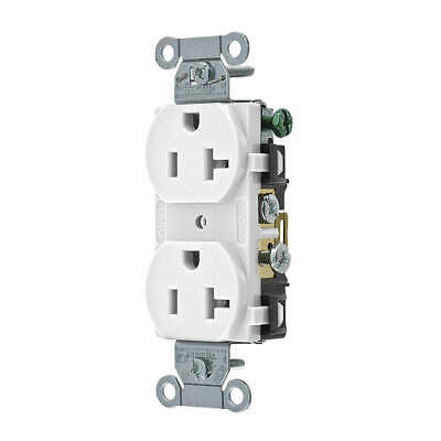 HUBBELL WIRING DEVICE-KELL Nylon Receptacle,Duplex,20A,5-20R,125V,White, CR20WHI