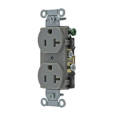 HUBBELL WIRING DEVICE-KELLE Nylon Receptacle,Duplex,20A,5-20R,125V,Gray, CR20GRY