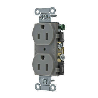 HUBBELL WIRING DEVICE-KELLE Nylon Receptacle,Duplex,15A,5-15R,125V,Gray, CR15GRY