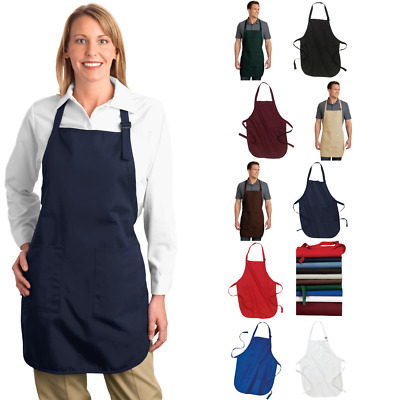Full-Length Apron Cotton Stain Release Pockets Work Wear Food Service A500