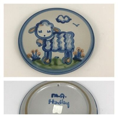 "M.A. Hadley Blue Lamb Sheep 6 1/2"" Trivet Wall Hanging Country Scene Pottery"