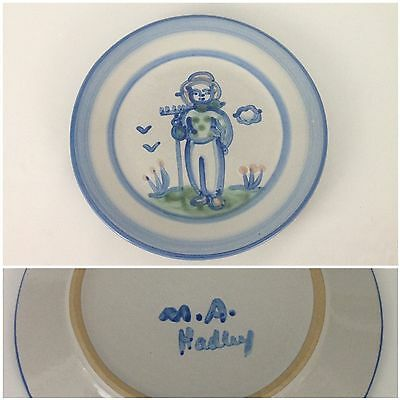 "M.A. Hadley Blue Farmer Country Scene 7-5/8"" Salad Dessert Plate Pottery Man"