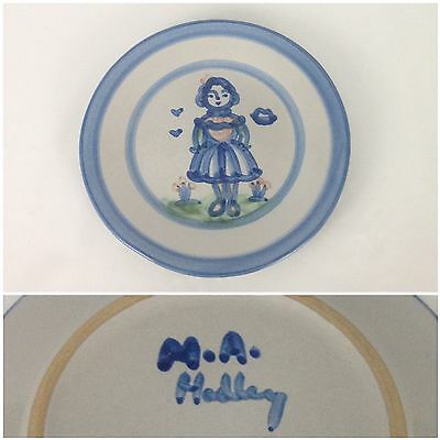 "M.A. Hadley Blue Girl Country Scene 7-5/8"" Salad Dessert Plate Pottery Wife Lady"
