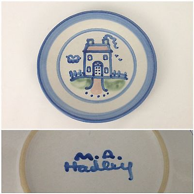 "M.A. Hadley Blue Farm House Country Scene 7-5/8"" Salad Dessert Plate Pottery"