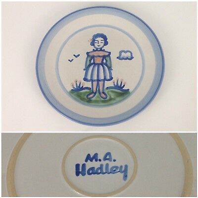 "M.A. Hadley Blue Girl Country Scene 11"" Dinner Plate Pottery Wife Lady"