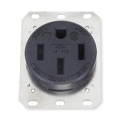 HUBBEL Thermoplastic Polyester Receptacle,Single,50A,14-50R,250V,Black, HBL9450A