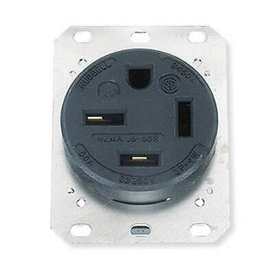 HUBBEL Thermoplastic Polyester Receptacle,Single,50A,15-50R,250V,Black, HBL8450A