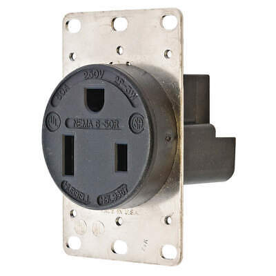 HUBBELL WIRING DEVICE-K Phenolic Receptacle,Single,50A,6-50R,250V,Black, HBL9367