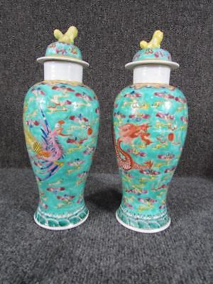 PAIR OF ANTIQUE 19c. signed FAMILLE CHINESE TEAL BLUE VASES with FOO DOG HEADS