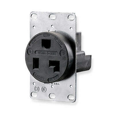 HUBBELL WIRING DEVICE-K Phenolic Receptacle,Single,30A,5-30R,125V,Black, HBL9308