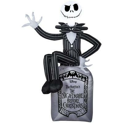 jack skellington on tomb airblown inflatable halloween yard decor 6ft kg