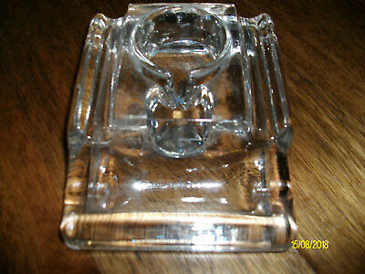 Vintage Clear Glass Inkwell Desk Stand with Nib and Double Pen Holders.