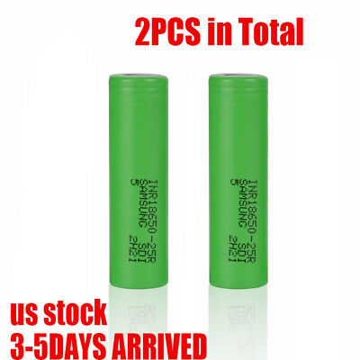 2 Pack Samsung 25R 18650 HIGH DRAIN 2500mAh 20A Rechargeable Vape Mods Battery