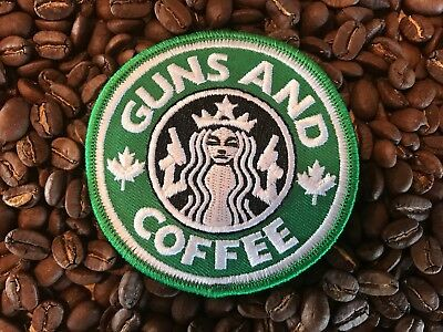 Canada Tactical Morale Patch - Guns and Coffee - Hook & Loop - Army / Police