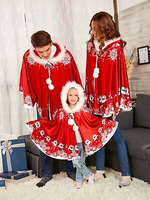 Christmas Snow Family Matching Adult Kids Hooded Velvet Cape Cloak Fancy Costume