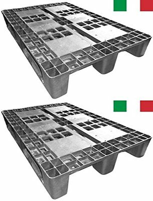 Cenni 12002 Set 2 Plastic Euro Pallets 1200 x 800 with 3 Runners, Made in Italy