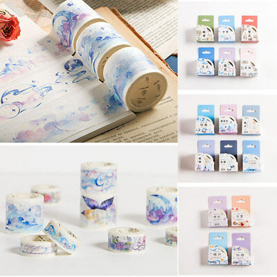 1 Roll DIY Washi Tape Flower Butterfly Adhesive Scrapbooking Sticker Craft +Box