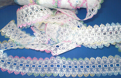 Eyelet/coathanger lace 5 metres x 4cm wide white with multi coloured edging