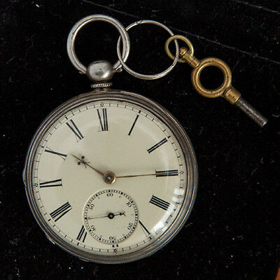 1900s Sterling Silver English Made Pocket Watch And Case Excellent Dail