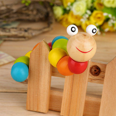 Wooden Twisty Wiggly Worm Multicolour Sensory Wood Bead Developmental Toy VW