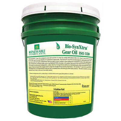 RENEWABLE LUBRICANTS Biodegradable EP Gear Oil,5 Gal, 82454, Yellow