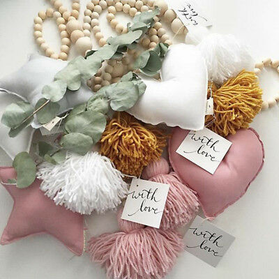 Wooden Beads String Love Star Tassels Wall Tent Hanging Decoration Props Toys