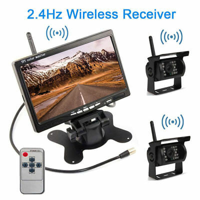 """7"""" HD Monitor+2x Wireless Rear View Backup Camera Night Vision For RV Truck BUS"""
