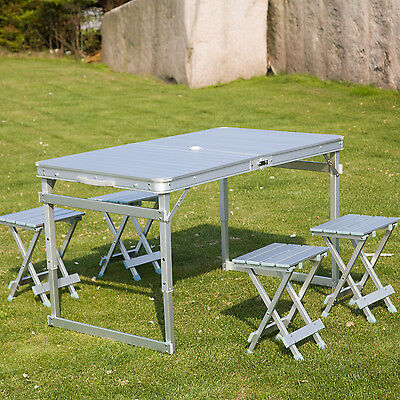 """46"""" x 27"""" Portable Folding Table and 4 Stools Set Camp Picnic Suitcase Outdoor"""