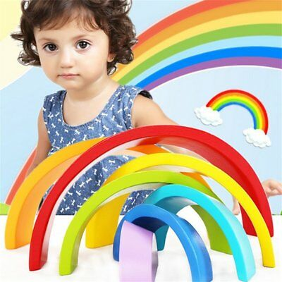 Kids Children 7 Color Wooden Rainbow Stacking Building Blocks Educational Toy VW