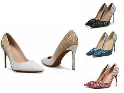 Ladies Sparkly Pointed Toe Party Evening High Heel Wedding Bridal Shoes d05-l