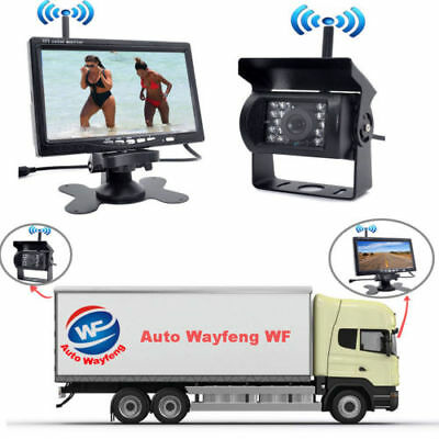 "Digital Wireless 7"" Monitor+Rear View Backup Camera System For Truck Trailer Bus"