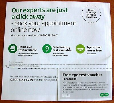 a8785e1b7ec7 1 Specsavers Eye Test Voucher Coupon Valid 30 September 2018 authentic  genuine