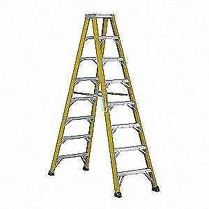 WESTWARD Fiberglass Twin Stepladder,Fbrgls,IAA,8 ft., 44YY16
