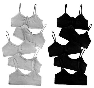 Girls Crop Bra Tops 5 Pack Plain Black Grey Cotton Essentials Brand New