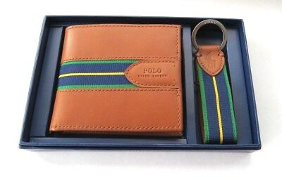 Polo  Ralph  Lauren Genuine  Leather Wallet & Key Fob  Gift Set Box