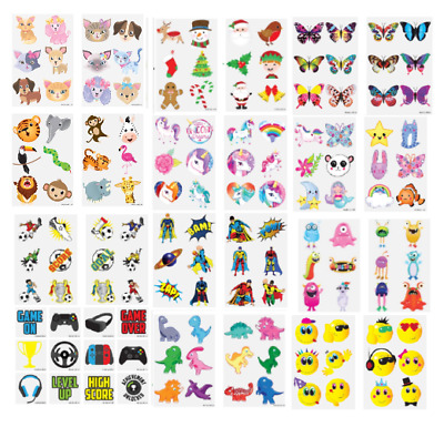 24 Kids Temporary Tattoos Childrens Party Loot Bag Fillers - 29 Assorted Designs