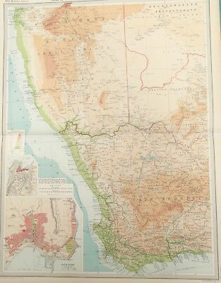 Map of Western Cape Province & South West Africa (Namibia). 1922 CAPE TOWN