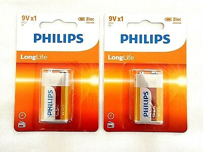 2 X Philips Longlife PP3, 6F22, 9 Volts Heavy Duty Batteries