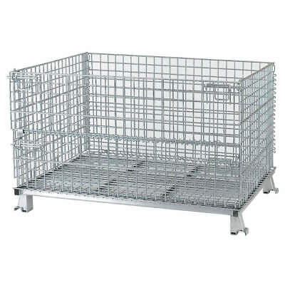 NASHVILL Steel Wire Mesh Collapsible Container,48 In W,Silver, C404824S4, Silver