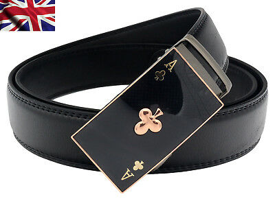 Womens Designer Belts For Women Ladies Ace Poker Automatic Ratchet Leather Belt
