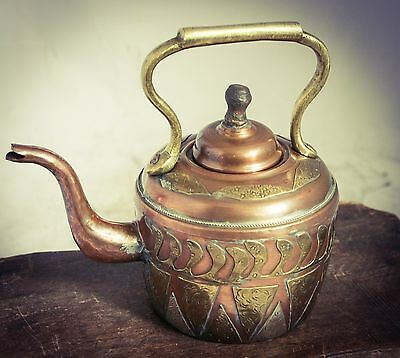 Antique Moroccan / Islamic Copper KETTLE with Silver and Brass Panels STUNNING