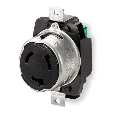 HUBBELL WIR Impact Modified PBT Locking Receptacle,Industrial,50, HBL3769, Black
