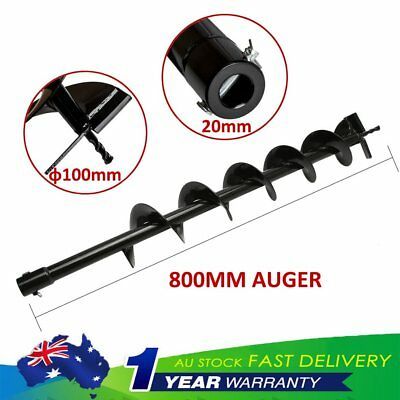 100mm x 800mm Auger Bit Drill Pipe Earth Petrol Post Hole Digger 20mm Standard