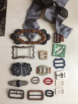 Vintage Buckles Possibly Silver ,Bakelite, Art Deco , Stone Set , Material Etc.