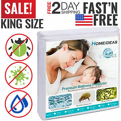 Mattress Cover Protector Waterproof Pad King Size Hypoallergenic Vinyl Free New