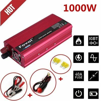 1500W Car Solar Power Inverter Converter DC 12V to AC 110V/120V USB Charger US