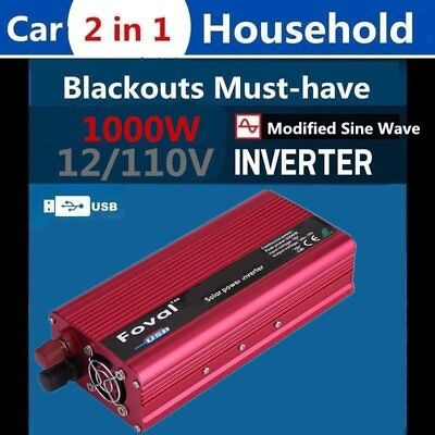 1500W Car Solar Power Inverter Converter DC 12V to AC 110V/120V USB Charger QC