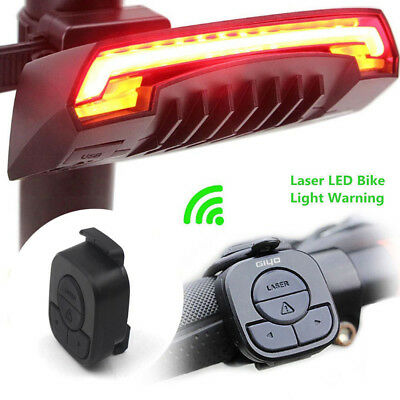 Wireless Bicycle Bike Rear LED Tail Light USB Remote Control Turn Signals Laser