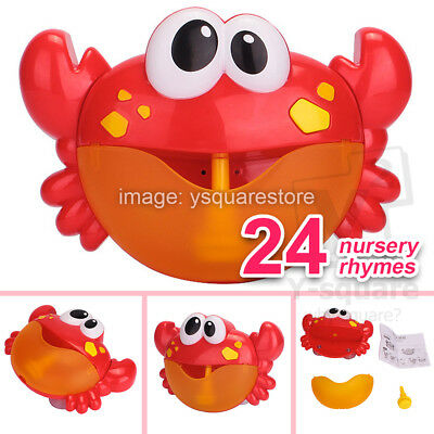 24 SONGS~ Crab Bubble Maker Automated Spout Machine Musical Bath Shower Toy Baby